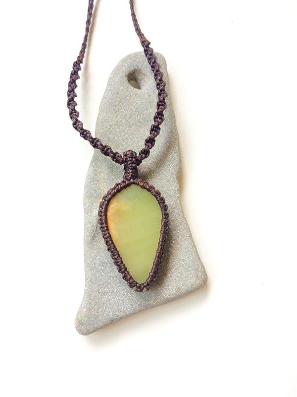 Teardrop rolling hills dolomite macrame pendant