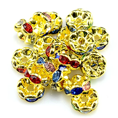 RUBYCA 100pcs Wavy Rondelle Spacer Bead Gold Tone 10mm Multi-Color Czech Crystal