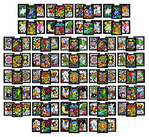 Blowout Pack of 108 Fuzzy Velvet Inch Posters (2 Each of 54 Coloring Posters) - Great for School, Assisted Living, Rehab Centers, and Craft -