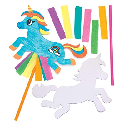 Baker Ross Unicorn Toy Wand Making Kit (Pack of 6) AW627, Animal Wands for Kids to Craft and Decorate: Toys & Games