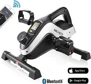 ANCHEER Under Desk Bike Pedal Exerciser - Mini Magnetic Stationary Exercise Bike for Home and Office Fitness, 2-in-1 Peddler Equipment for Knee Leg Arm Strength Training with LCD Monitor