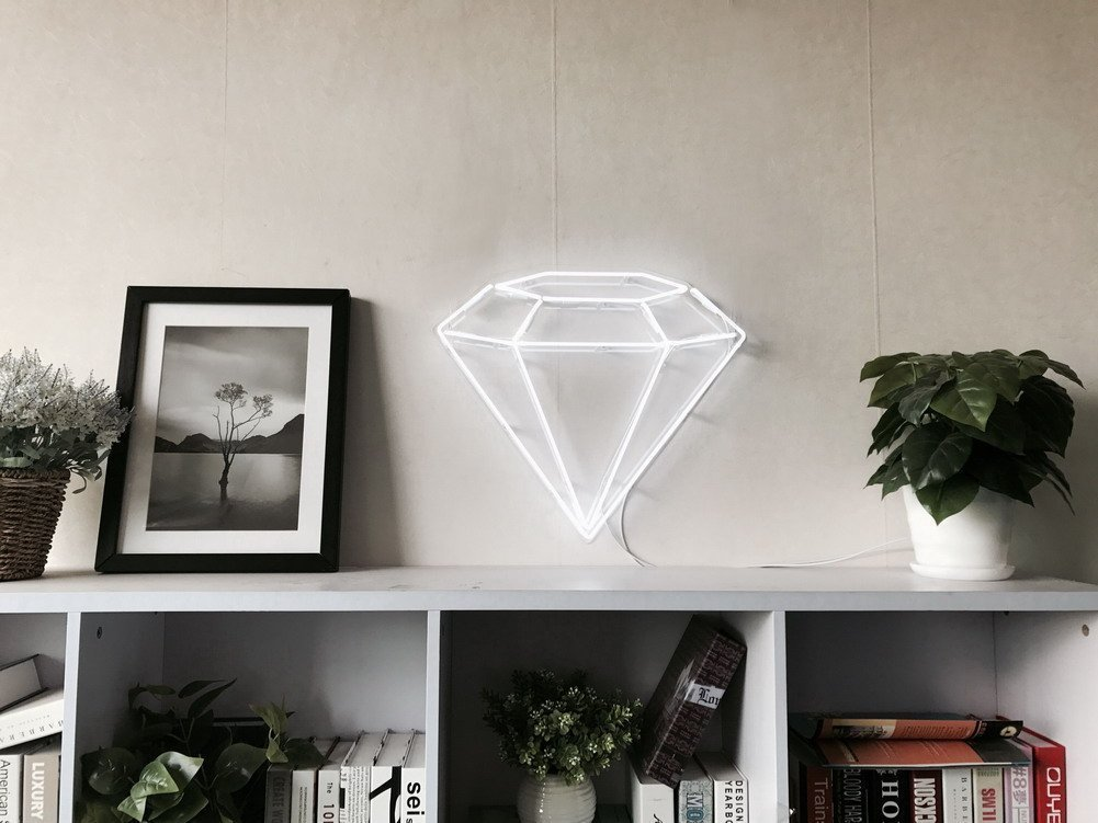 Diamond Real Glass Neon Sign For Bedroom Garage Bar Man Cave Room Home Decor Handmade Artwork Visual Art Dimmable Wall Lighting Includes Dimmer