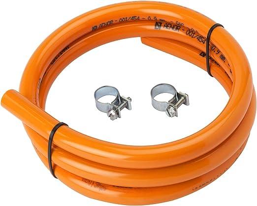 MIRTUX Tubo de Goma para Gas Butano de 1,5 Metros de Largo e Interior de 09 cm. Incluye 2 Arandelas para la instalación. Color Naranja.