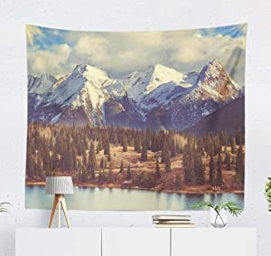 Summor Tapestry, Small Tapestry Nature Tapestry Mountain Landscape Tapestry in Colorado Rocky Mountains Hanging Tapestries Wall Hanging Decor for Bedroom Living room Dorm 50 x 60 Inch