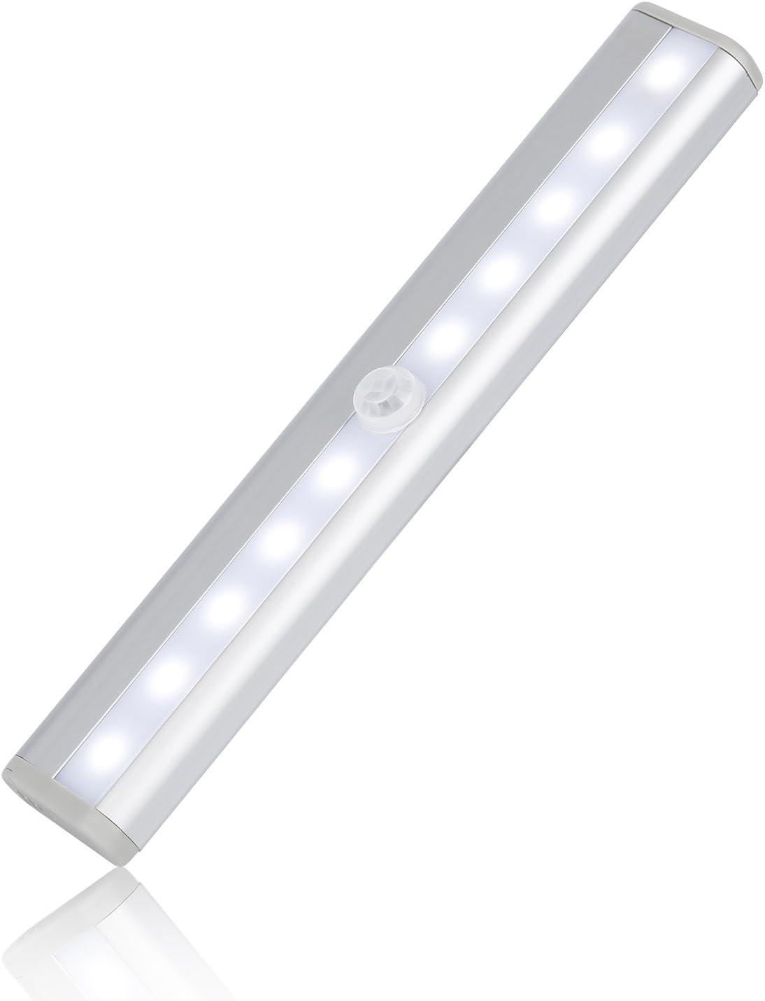 Tsing Barra de Luz con Sensor de Movimiento 10 LEDs Inalámbrica Lámpara Nocturna para Armario/Cajón/Camino (Blanco)