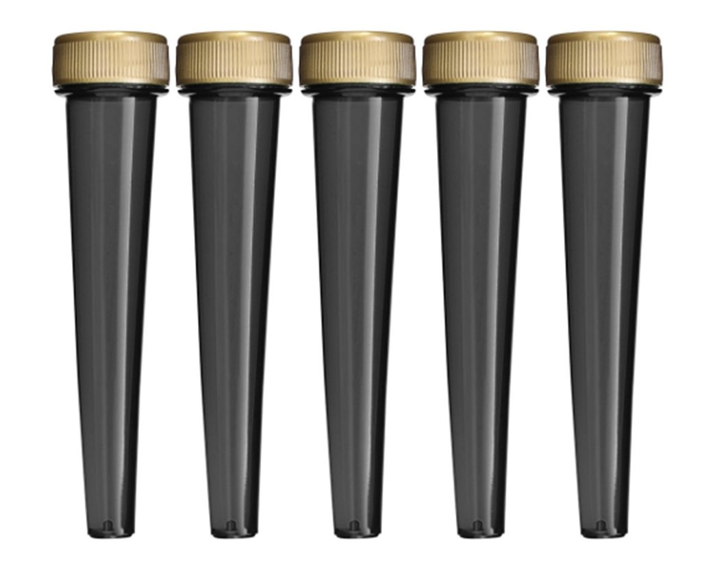 EZtube 5-Pack Joint Blunt Cigarette Tube Doob Vial Holder Waterproof Airtight Smell Proof Odor Sealing Container (Black)
