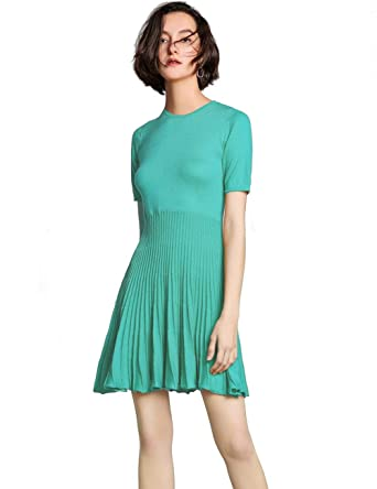 37399d294f5 FINCATI Sweater Dress Spring Autumn Cashmere Fitted Waist Big Swing Mini  Green Sexy Dresses Party Club