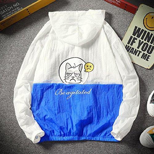 Summer Howme up Zip Men Sunscreen Pea Hood Outwear with Dark Coat Cat Blue qrTYq6x