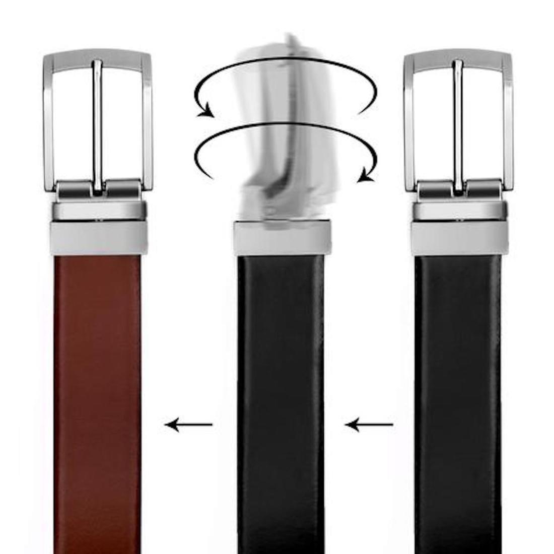 VALERIO Cinturón Casual Formal Reversible en Marrón y Negro para Hombres (DOS EN UNO) de Genuino Completo Cuero Natural con Hebilla Giratoria