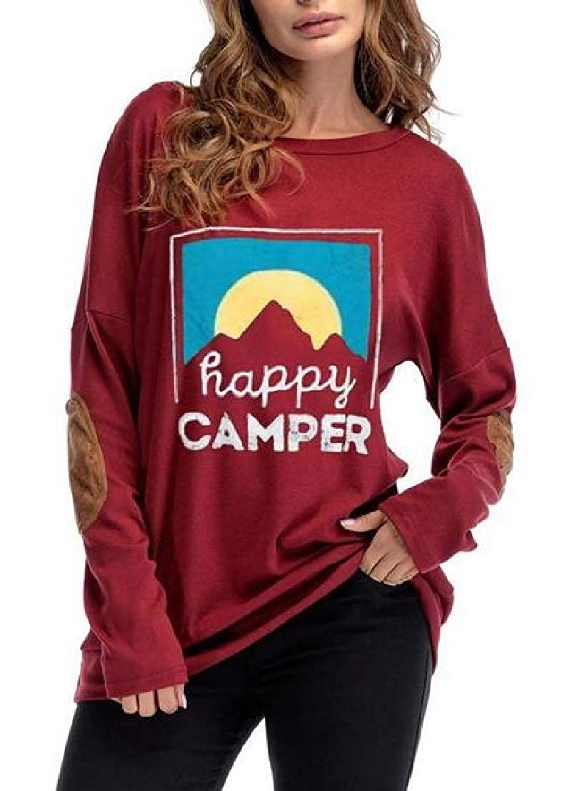 UUYUK Women Elbow Patch Print Crew Neck Long Sleeve Pullover Top Sweatshirt