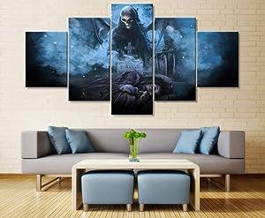 YDME Canvas Prints Art Modular Wall Sticker Decor,Framed Avenged Sevenfold Canvas Printing Wall Art Home Decor 5 Piece Women Men Gifts -100X55CM