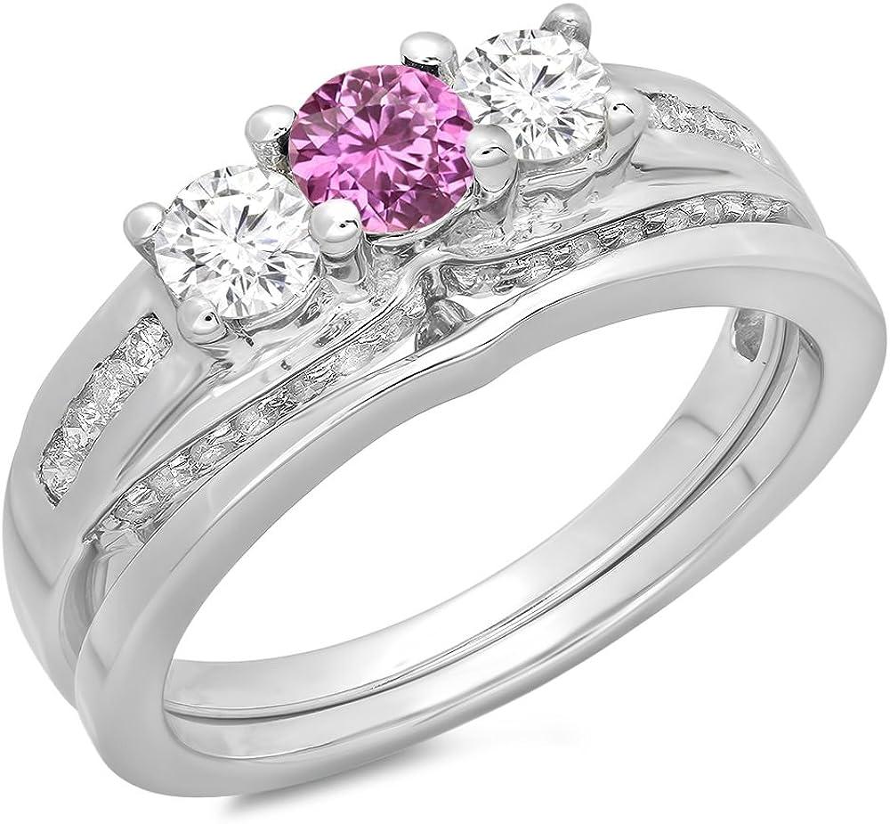 DazzlingRock Collection Anillo de Compromiso de Piedra con 3 Diamantes y zafiros Rosados ??Redondos de Oro de 14 k 6.5