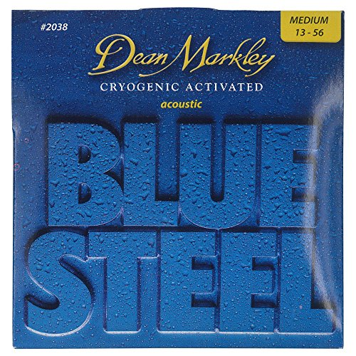 - Dean Markley Blue Steel Cryogenic Activated Acoustic Strings, 13-56, 2038, Medium