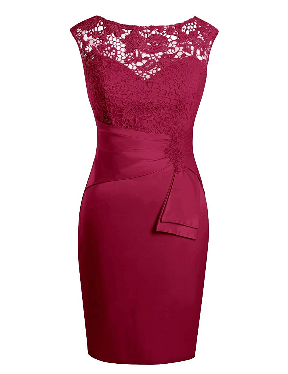 Burgundy MorySong Women's Hollow Out Lace Beading Knee Length Mother of The Bride Dress