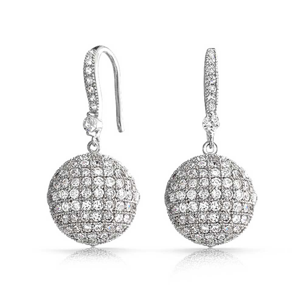 Large Disco Ball Drop Earrings Round Pave Cubic Zirconia Rhodium Plated Brass 1.2 inch Fishhook