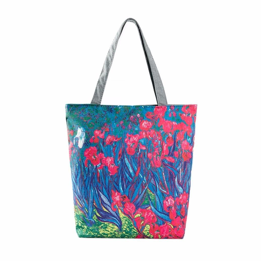 Clearance! Shoulder Handbags Owl Printed Canvas Women Girls Casual Tote Beach Bag Portable Grocery Shopping Bag Elogoog Hot Sale 2018