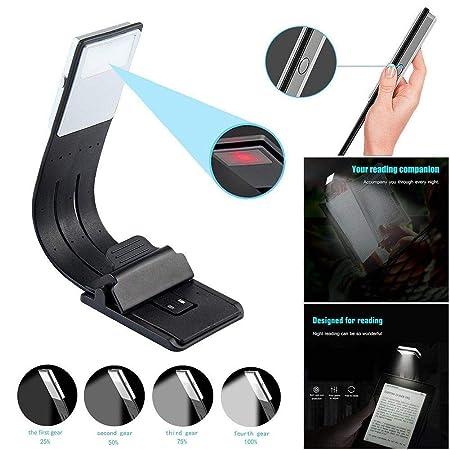 Luz LED Lectura Libro Flexible Clip Lámpara Recargable para Kindle ...