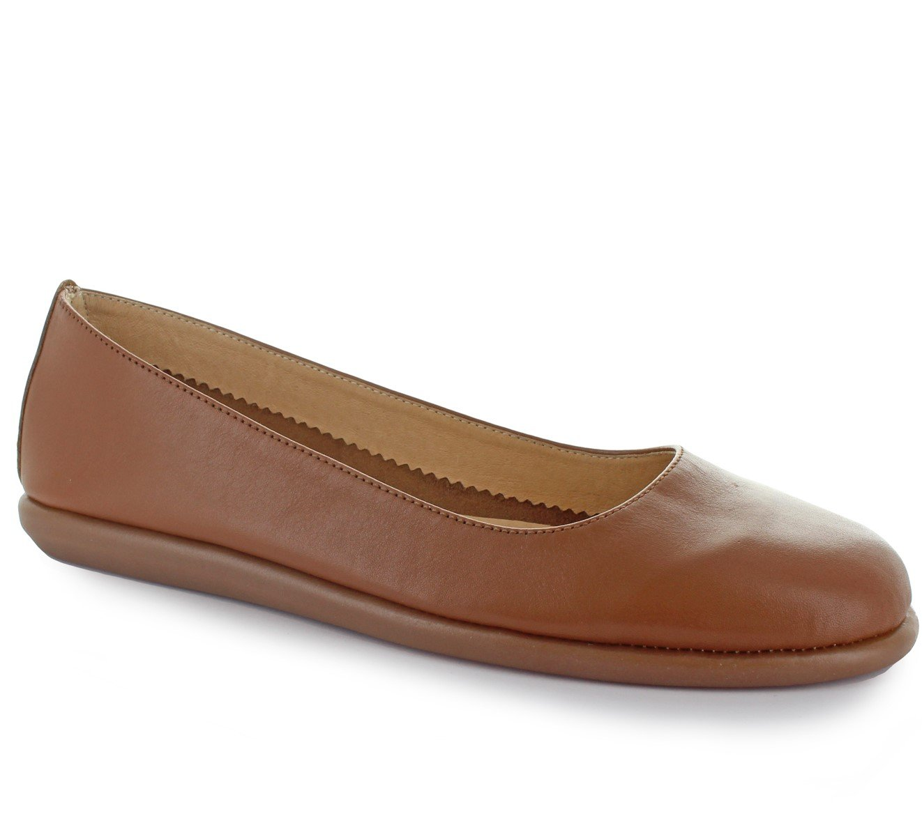 Joan Vass Patricia Womens Nappa Leather Ballet Flat Shoes Tan 39/8.5-9