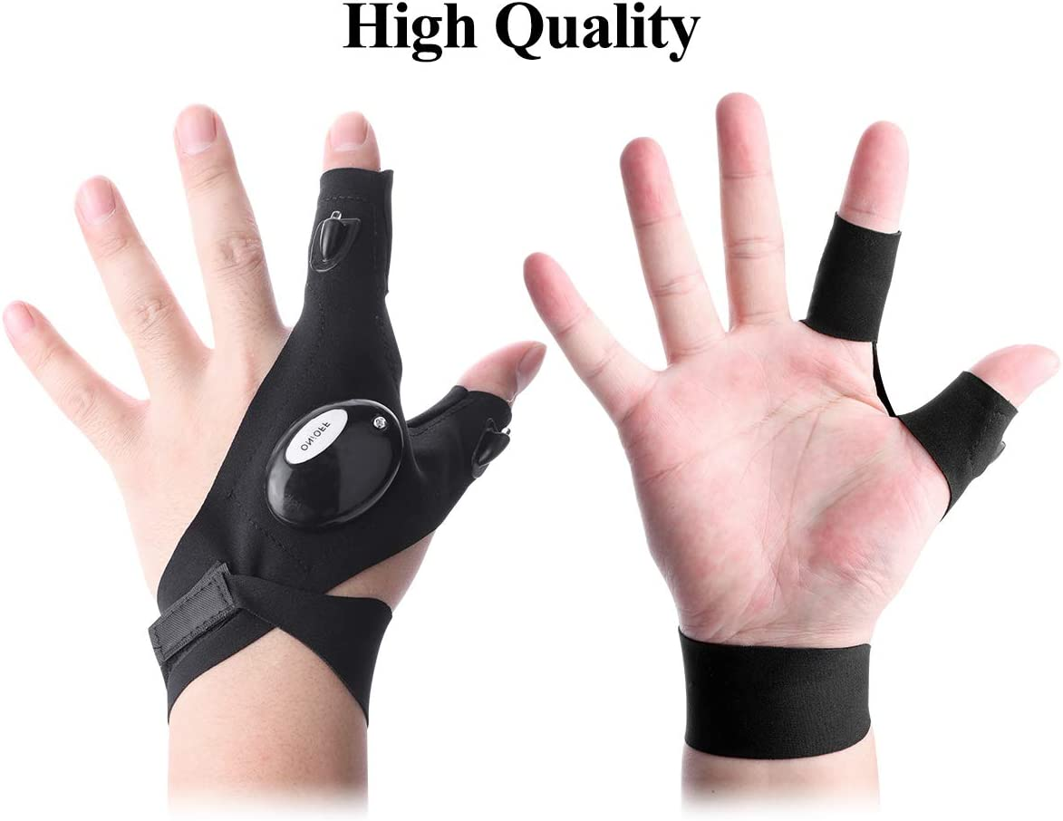 Gadgets Gifts for Men Women Fingerless LED Flashlight Gloves for Repairing,Working in Darkness Places Camping Hiking and Outdoor Activities Fishing LED Flashlights Gloves