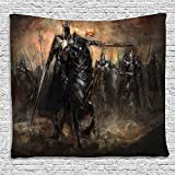 SCOCICI Supersoft Fleece Throw Blanket Fantasy World Decor King with Armor Leading His Army in War Evil and Good Ancient City Illustration Black and Brown 59 x 59 Inches