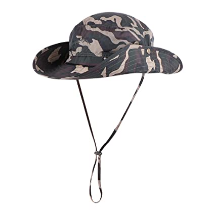 Anyoo Outdoor Boonie Hat Breathable Wide Brim Summer Sun Cap UV Protection  Fishing Camouflage Hat Men Women 033687b88024