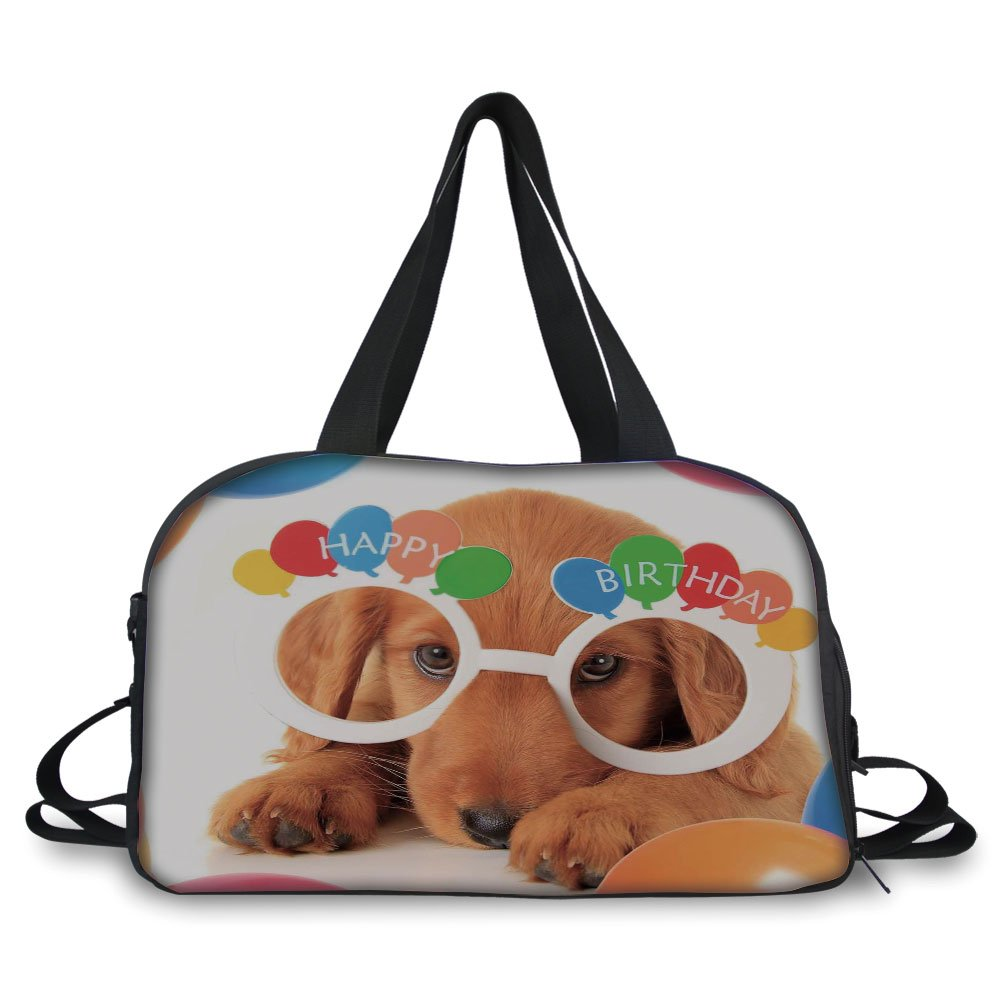 Trunk,Birthday Decorations for Kids,Puppy Dog Golden with Glasses Balloons Present Party Theme,Multicolor,Picture Print