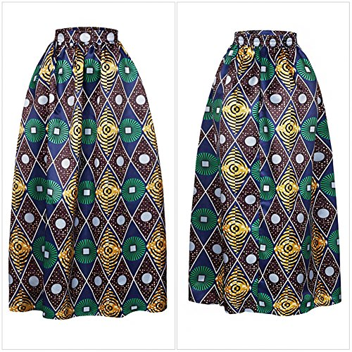 Women Tribal African Print Dashiki Vintage High Waist Long Maxi ...