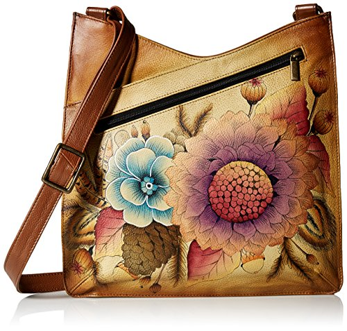 Crossbody Large Anna Leather Bouquet V Rustic Women'S Painted Top Hand Anuschka fqH080