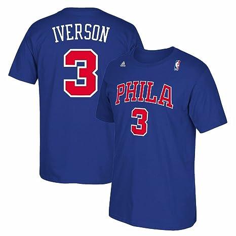 5e546672d18 Philadelphia 76ers Sixers Adidas Allen Iverson Throwback Blue PHILA T Shirt  (Small)