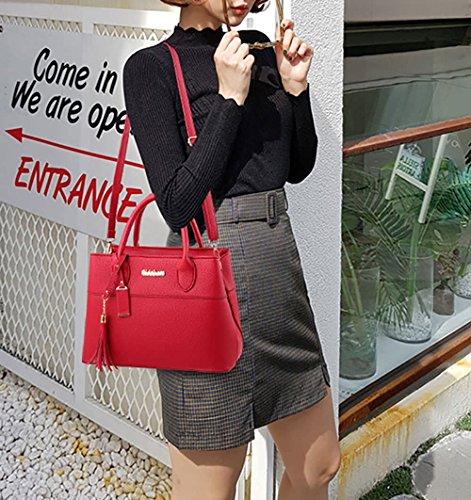 Rouge femme à DEERWORD main pour Bordeaux Sac FnnxX