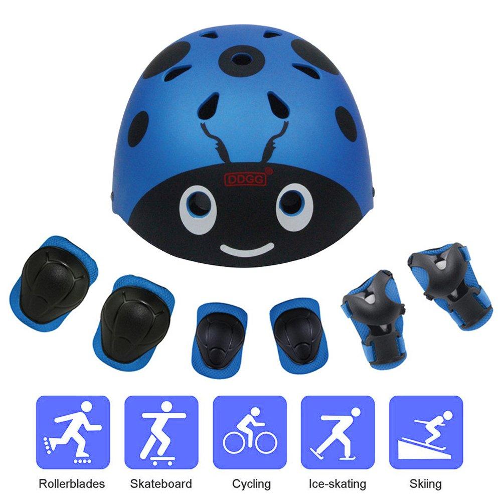 DDGGキッズ保護装具セット子供用調節可能ヘルメットニーパッドスケボーローラー用肘パッドとリストパッドローラースケートサイクリングローラーブレード(ブルー)   B07FCNMGHC