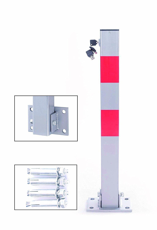 LIVIVO Heavy Duty Folding Parking Barrier Car Bollard Vehicle Driveway Car  Safety Security Post -2 Keys Included For Each Barrier (1)