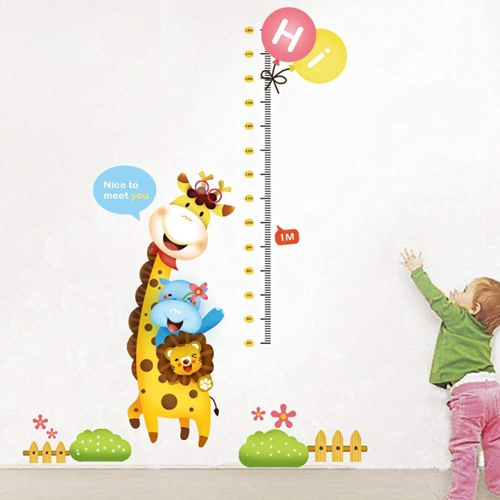 RW-1712 Height Growth Chart Wall Sticker Cartoon Animals Wall Decals DIY Removable Baby Growth Chart Handing Ruler Wall Decor for Kids Boys Girls Bedroom Living Room Nursery Playroom