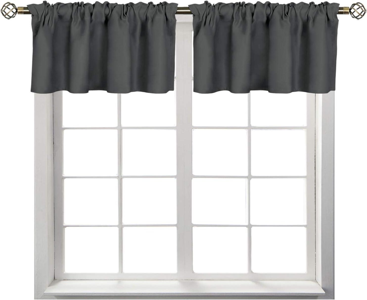 BGment Rod Pocket Valances for Kitchen- Thermal Insulated Room Darkening Tier Valance Curtain for Dinning Room, 42 x 18 Inch, 2 Panels, Dark Grey