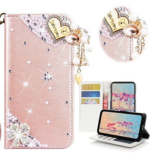 - STENES LG Stylo 2 Case, LG Stylo 2 Plus Case - Stylish - 3D Handmade Bling Crystal Heart Pendant Flowers Desgin Wallet Credit Card Slots Fold Media Stand Leather Cover Case - Pink