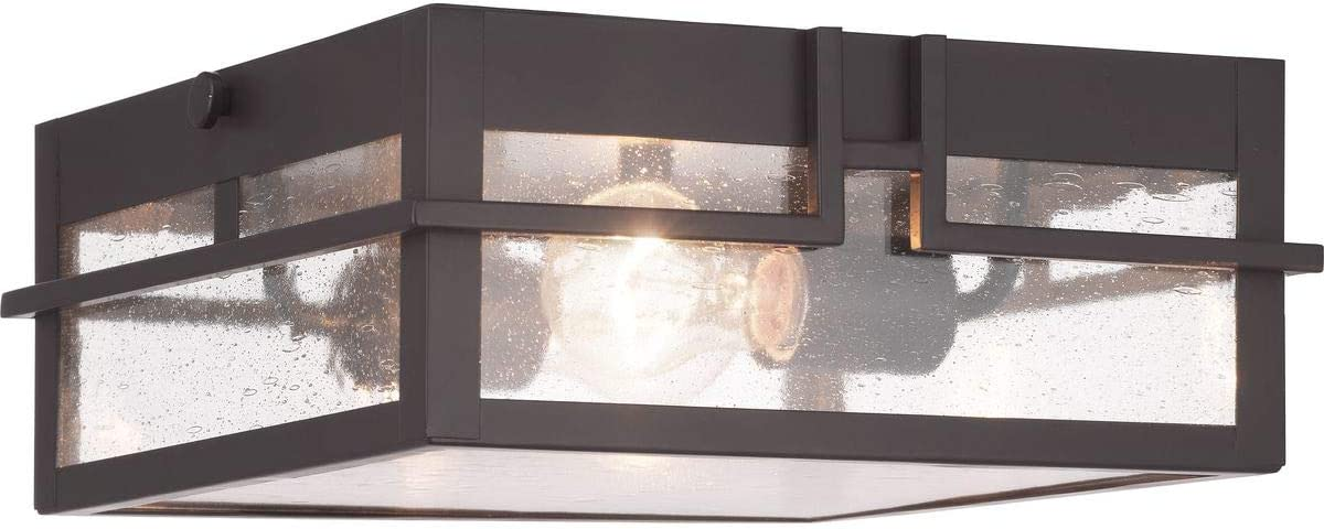 Progress Lighting P550038-020 Boxwood Collection One-Light Outdoor Flush Mount, Antique Bronze