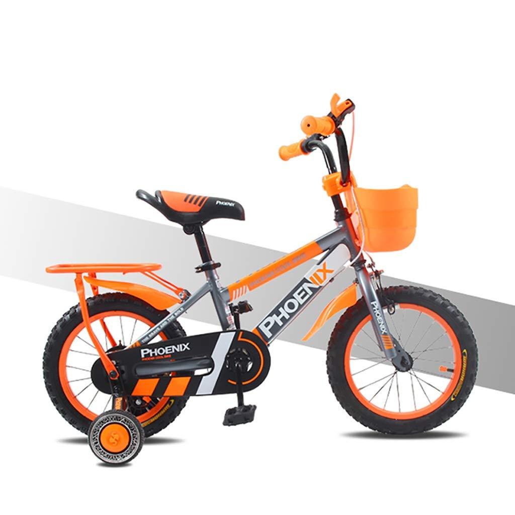 丈夫 子供用自転車自転車3-5-6-7-9歳の男の子と女の子のハンドブレーキ、安全性の管理(バスケットと後部座席付き) (色 : A, サイズ さいず : 14inch) 14inch A B07RM4HC2N