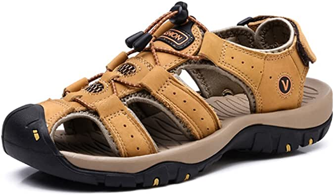 VENSHINE Mens Sports Sandals Summer Leather Outdoor Fisherman Beach Walking Hiking Sandals