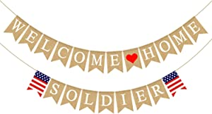 Rainlemon Jute Burlap Welcome Home Soldier Banner American Military Army Family Garland Decoration