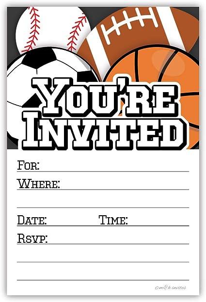 15 x BOYS FOOTBALL BIRTHDAY PARTY INVITATIONS KIDS CHILDREN INVITES ENVELOPES
