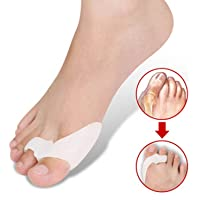 Sungpunet One Pair Silicone Footful Foot Pain Relief Hallux Valgus Big Toe Gel Toe Separators Stretchers Bunion Splint Spacer Alignment Straightener Corrector Stretchers Hammer Toes and Tailor's Bunion Aid Treatment Splint Bunion Corrector Orthosis (White)