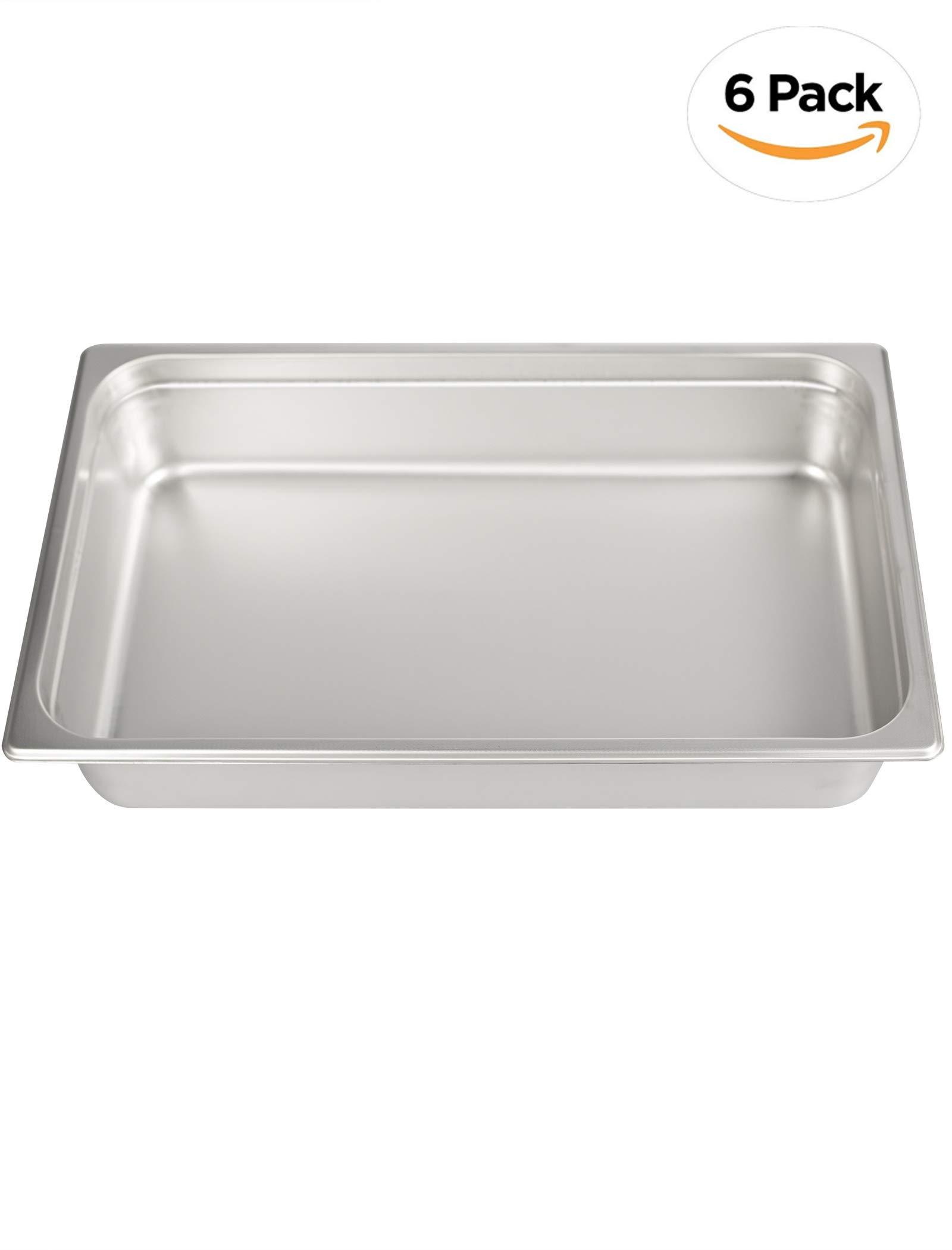 Stainless Steel Steam Table Pan Full Size,ATOSA A2004 Stainless Steel Steam Table Pan 4'' Deep and 6 Pieces Per Carton Pan Buffet Food Pans Food Pan Pack of 6