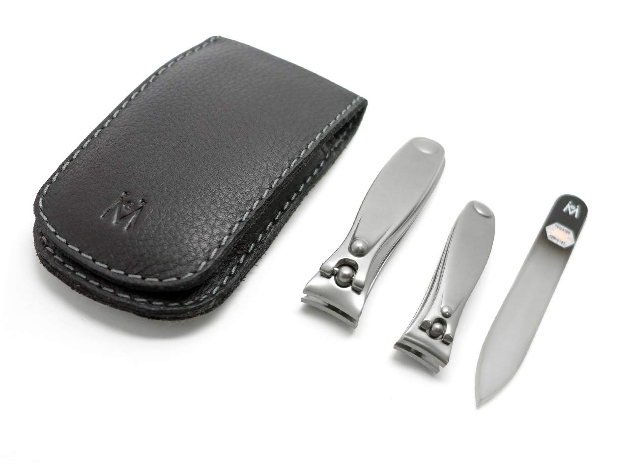 German 3pcs FINOX surgical stainless steel clippers pocket manicure set in magnetic leather case, GERmanikure Solingen
