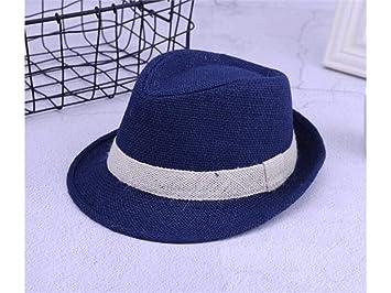 FOUGNOGKISSS Sombrero de bombín de Paja de Color sólido para niños Sombrero  de Jazz para niños c9d0c88b13c