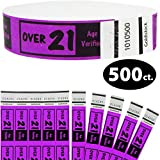 Goldistock 3/4'' Tyvek Wristbands Over 21 - Neon Purple 500 Ct.- Easy Drinking Age Identification