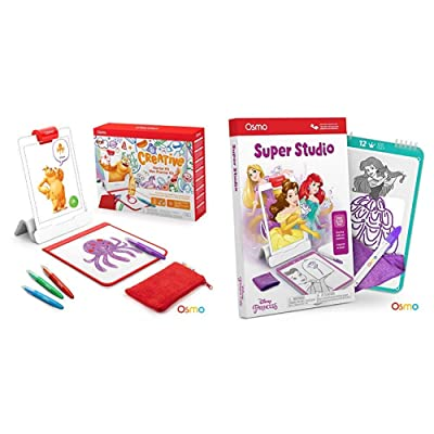 Osmo - Creative Starter Kit for iPad (Ages 5-10) + Super Studio Disney Princess Game Bundle (Ages 5-11) iPad Base Included: Toys & Games