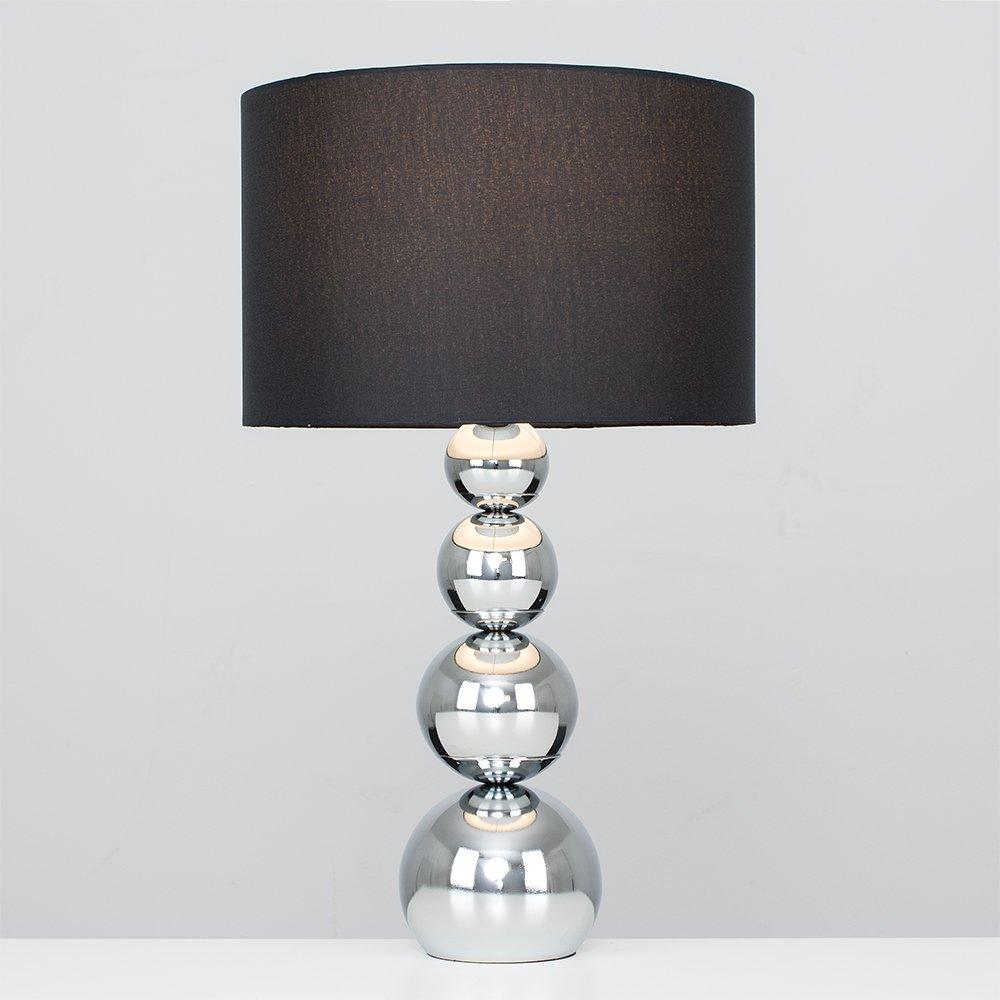 Minisun – Lámpara de mesa moderna y táctil Sphere - Cromada, de gran dimensión y pantalla negra de imitación de seda