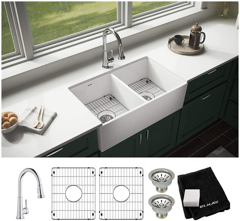 Elkay SWUF32189WHFC Fireclay Equal Double Bowl Farmhouse Sink Kit with Faucet, White