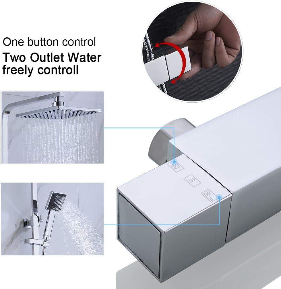 set de ducha cromado BONADE Ducha de lluvia con termostato columna de ducha de acero inoxidable Sistema de ducha angular incl ducha de mano Varilla de ducha ajustable ducha fija de 8 pulgadas