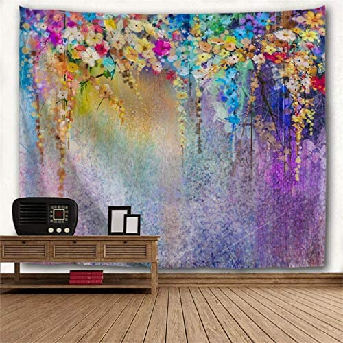 Watercolor Flower Wall Hangings, Abstract Colorful Floral Print Wall Tapestry Romantic Home Decor Wall Tapestry King Size for Bedroom Living Room Wall Art Blanket, 90 x 71 inch